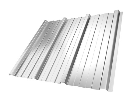metals: Corrugated metal sheet. 3d illustration isolated on white background