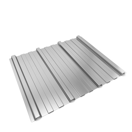 sheet metal: Corrugated metal sheet. 3d illustration isolated on white background