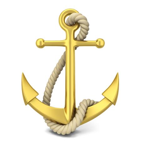 Golden anchor. 3d illustration isolated on white background Foto de archivo
