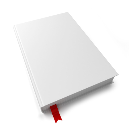 book store: Blank book with a bookmark. 3d illustration isolated on white background