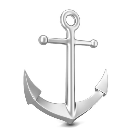 vessel sink: Steel anchor. 3d illustration isolated on white background