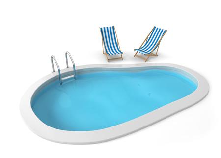 swim: Alberca. 3d ilustración aisladas sobre fondo blanco