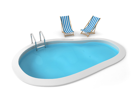 Swimming pool. 3d illustration isolated on white background Stok Fotoğraf
