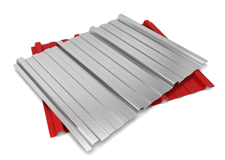 corrugated steel: Corrugated metal sheet. 3d illustration isolated on white background