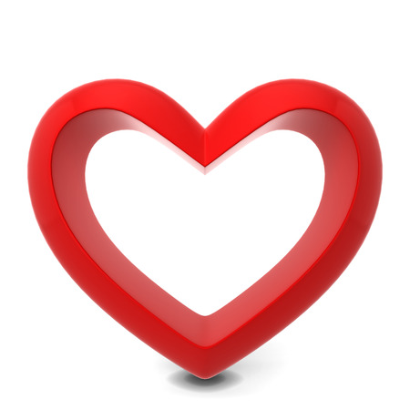 heart 3d: Red heart. 3d illustration isolated on white background Stock Photo