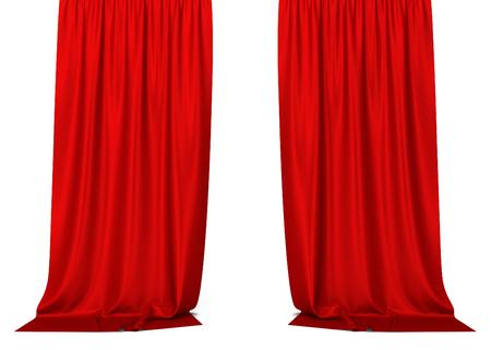 cortinas rojas: cortinas rojas. 3d aislado en el fondo blanco