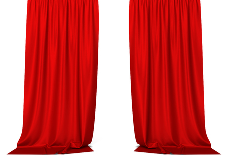 red cloth: Red curtains. 3d illustration isolated on white background