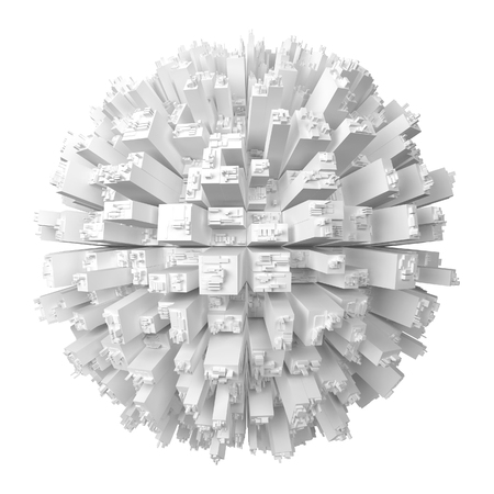 Globe with abstract skyscrapers. 3d illustration isolated on white background