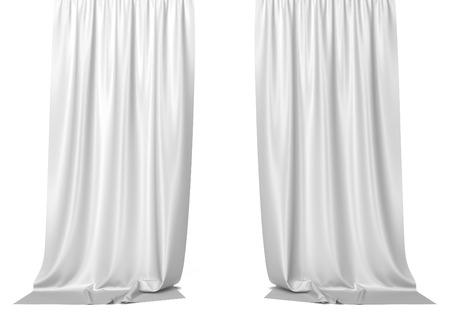 白いカーテン。白い背景で隔離の 3 d 図 写真素材