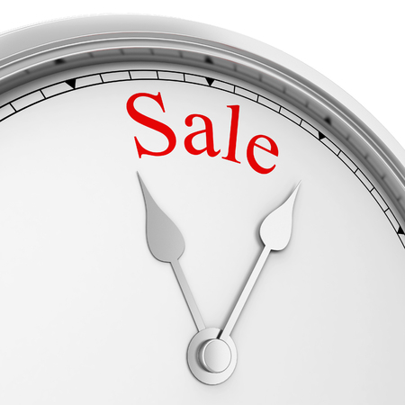 time out: Sale time. 3d illustration isolated on white background Stock Photo
