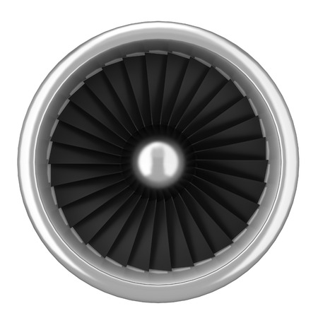 aluminum airplane: Jet turbine. 3d illustration isolated on white background