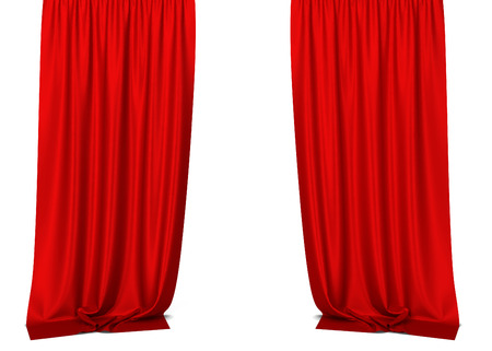 show window: White curtains. 3d illustration isolated on white background