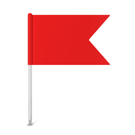 Pin flag. 3d illustration isolated on white background