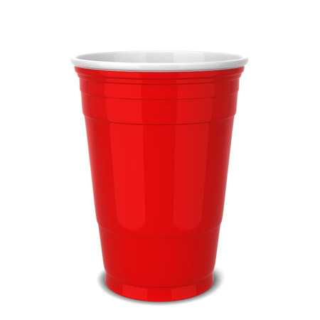 Red plastic cup. 3d illustration isolated on white background Imagens