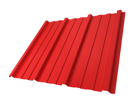 roof profile: Corrugated metal sheet. 3d illustration isolated on white background
