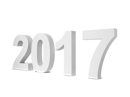 newyear: 2017 text. 3d illustration isolated on white background