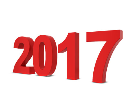 next year: 2017 text. 3d illustration isolated on white background