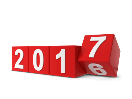 next year: 2017 year changing. 3d illustration isolated on white background Stock Photo
