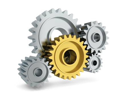 chrome: Gear mechanism. 3d illustration isolated on white background