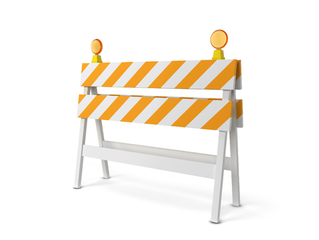 Safety roadblock. 3d illustration isolated on white background Banco de Imagens - 78743331