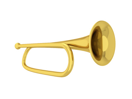 fanfare: Simple trumpet. 3d illustration isolated on white background