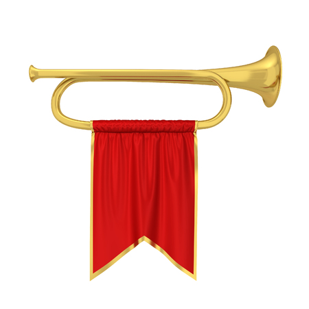 Trumpet with banner. 3d illustration isolated on white background