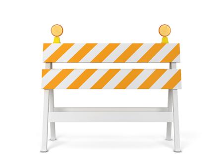Barrage routier de sécurité. Illustration 3D isolée sur fond blanc Banque d'images - 78743252