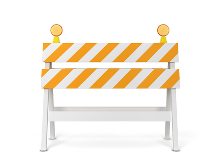 Safety roadblock. 3d illustration isolated on white background