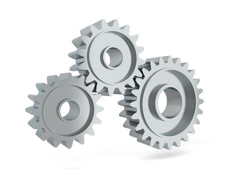 Versnellingsmechanisme. 3D illustratie geïsoleerd op een witte achtergrond