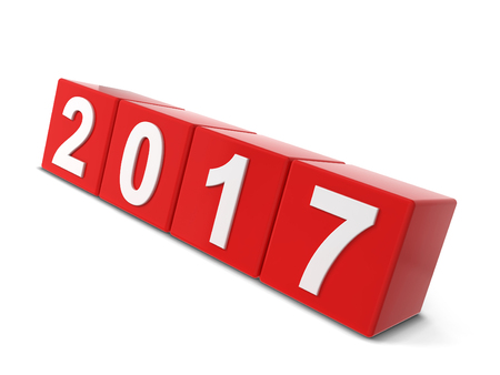 2017 year changing. 3d illustration isolated on white background Stock Photo