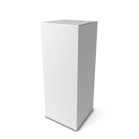 ebox: Blank tall box . 3d illustration isolated on white background