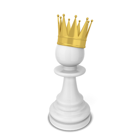 Chess pawn with a crown. 3d illustration isolated on white background