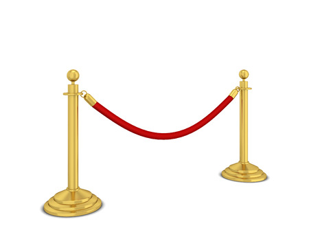 Golden stanchions. 3d illustration isolated on white background