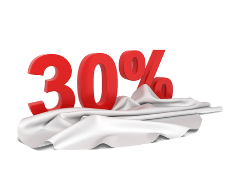 unveil: Discount sign with cloth cover. 3d illustration isolated on white background