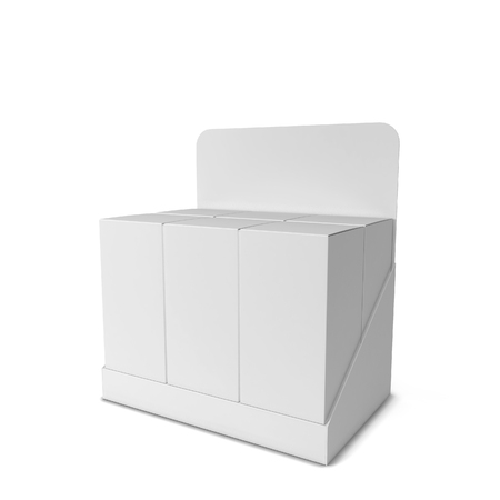 white boxes: Product display with boxes. 3d illustration isolated on white background