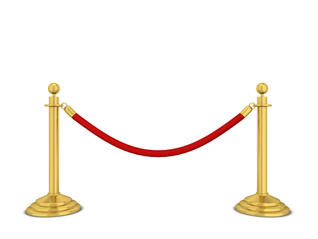 usher: Golden stanchions. 3d illustration isolated on white background