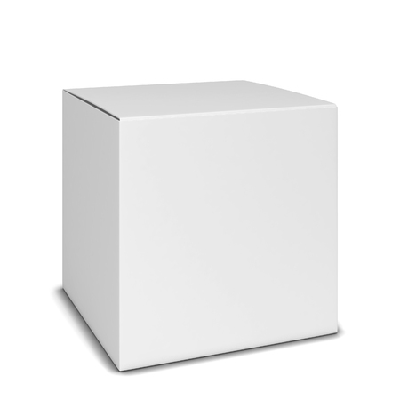 ebox: Blank square box. 3d illustration isolated on white background