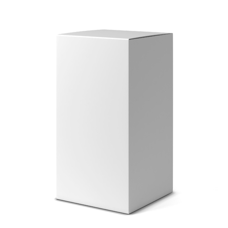 storage box: Blank tall box . 3d illustration isolated on white background