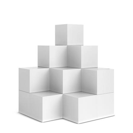 멀티 박스 디스플레이. 흰색 배경에 고립 된 3d 그림