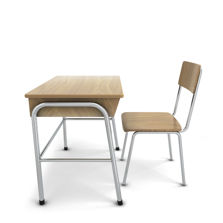 comfort classroom: School desk with chair. 3d illustration isolated on white background