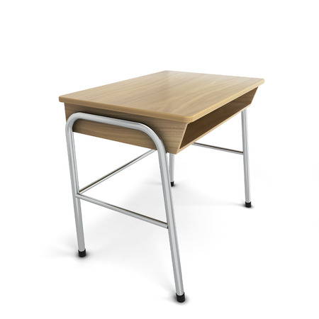 comfort classroom: School desk. 3d illustration isolated on white background