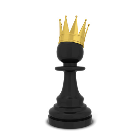 CHALLENGING: Chess pawn with a crown. 3d illustration isolated on white background