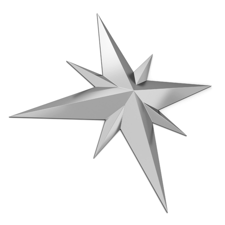 Compass rose symbol. 3d illustration isolated on white background