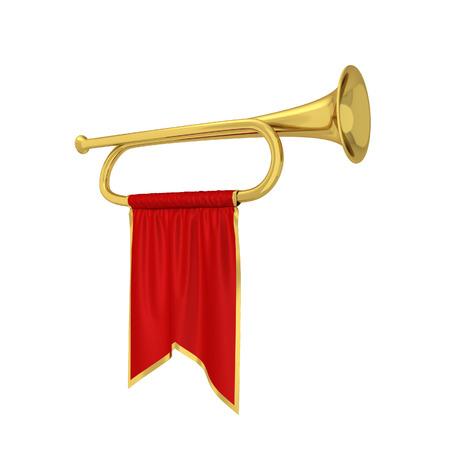 Trompette avec bannière. 3d illustration isolé sur fond blanc Banque d'images - 80606323
