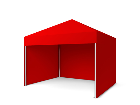overhang: Blank tent. 3d illustration isolated on white background