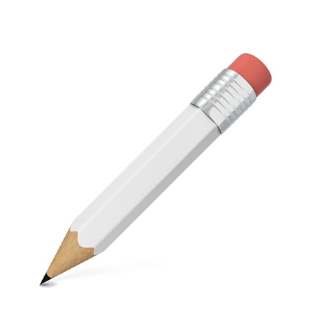 secretarial: Pencil with eraser. 3d illustration isolated on white background