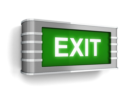 evacuate: Exit sign. 3d illustration isolated on white background