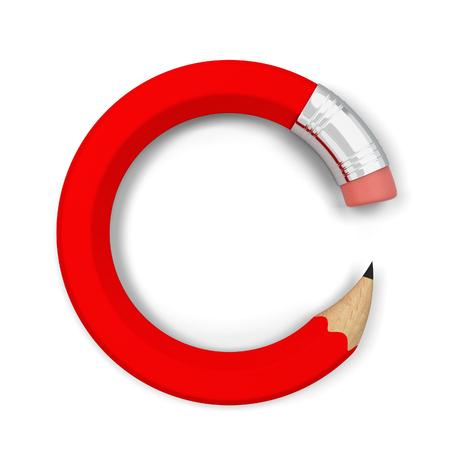 曲がっている鉛筆。白い背景で隔離の 3 d 図