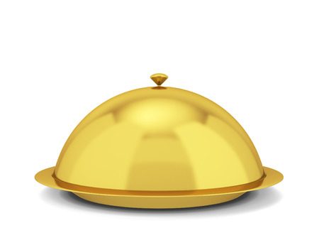 Restaurant cloche plate. 3d illustration isolated on white background