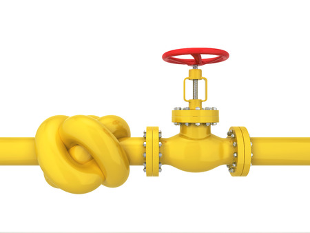 Oil pipe with knot. Transit crisis concept. 3d illustration isolated on white background  Stock Photo